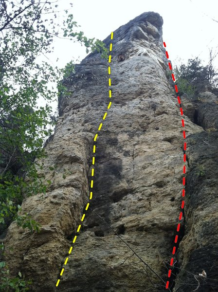 Indian Head Tower showing Quiver (5.9+) and Wrap Around Route (5.5).