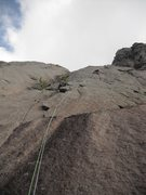 Rock Climbing Photo: Tony B headed up BB from the ground, linking pitch...