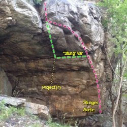 Stinger Arete. The first send was fueled by a bee sting to the hand. Pink is Stinger Arete, green is Stung (variation to Stinger Arete), and a yellow line for a project that starts on double undercling crimps.