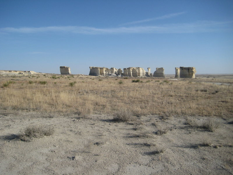 Monument Rocks from a distance.