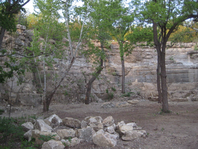 Left half of the rock wall.
