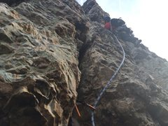Rock Climbing Photo: Chris starting the 2nd pitch of ecstacy on a windy...