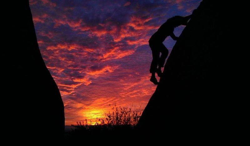 Rock Climbing Photo: Climbing unnamed boulder