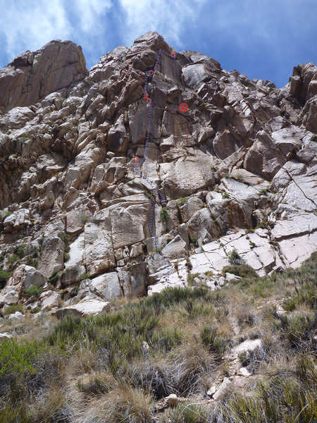 Rock Climbing Photo: First 4 pitches of Cinemascope from the base. The ...