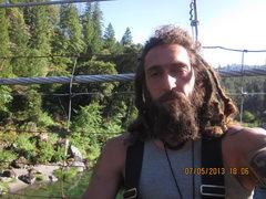 Rock Climbing Photo: Me on zee swingin bridge