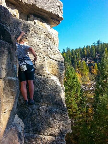 Rock Climbing Photo: Her first lead.