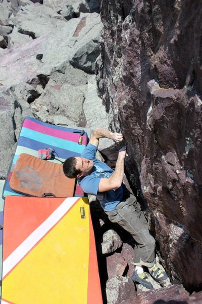 Rock Climbing Photo: Establishing on the start of Butter Burger.  I sta...