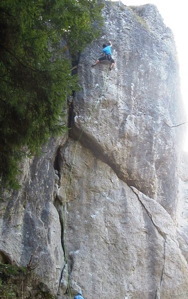 Rock Climbing Photo: Battling up the brilliant headwall of Fight Gravit...