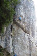 Rock Climbing Photo: Exiting the crux, but much steep, pumpy climbing r...