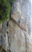 Rock Climbing Photo: More big reaches lead to a great rest above the ro...