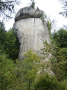Rock Climbing Photo: The south face of Rabenfels.  The lower half is ob...