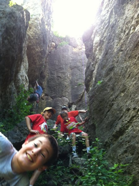 Rock Climbing Photo: Hiking up the Class 4 into the quad area. Sentinel...