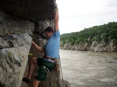 Rock Climbing Photo: Finding the nice holds over the roof