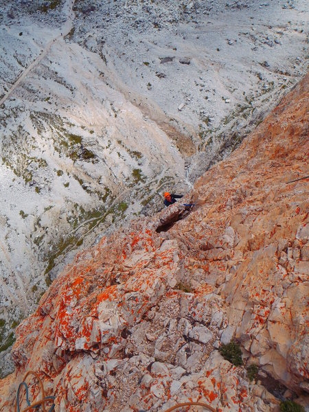 Just after the crux of pitch Pitch 5 (no longer overhanging).