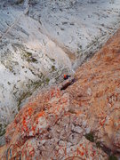 Rock Climbing Photo: Just after the crux of pitch Pitch 5 (no longer ov...