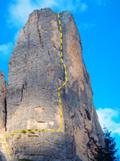 Rock Climbing Photo: The route climbs in from the left and finishes up ...