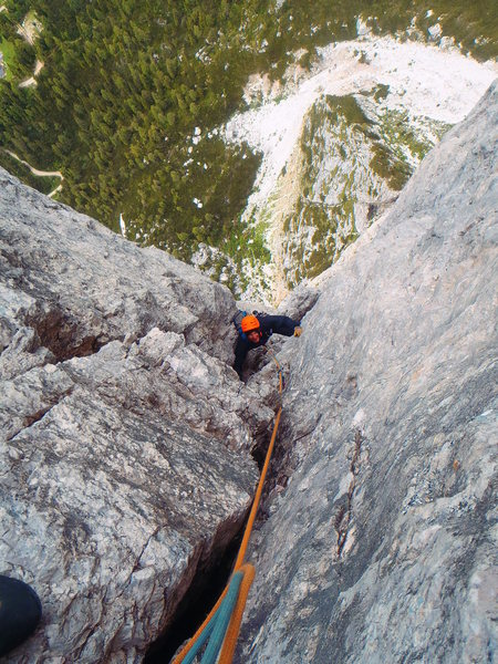 Rock Climbing Photo: Climbing in the upper dihedral