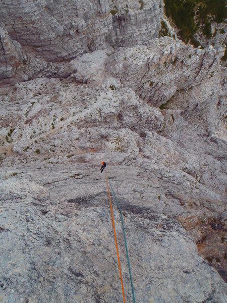 Long rappels into the slot between Torre Venezia and Punta Agordo