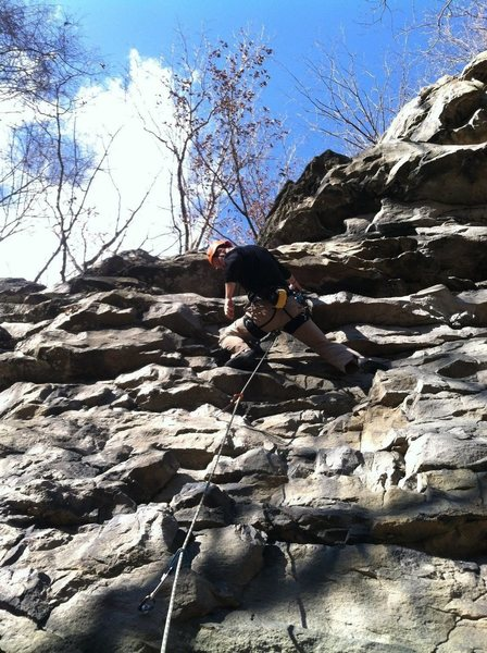 Rock Climbing Photo: Pulling the 3rd bolt crux