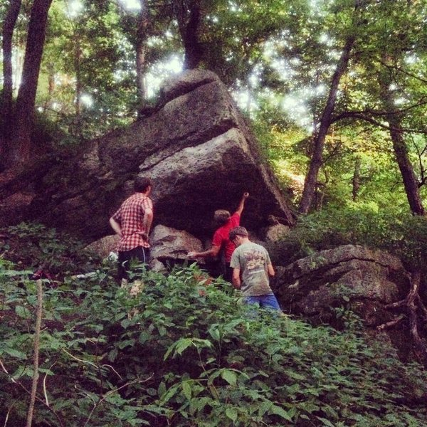 Rock Climbing Photo: Looking at the Star Destroyer boulder on a summer ...
