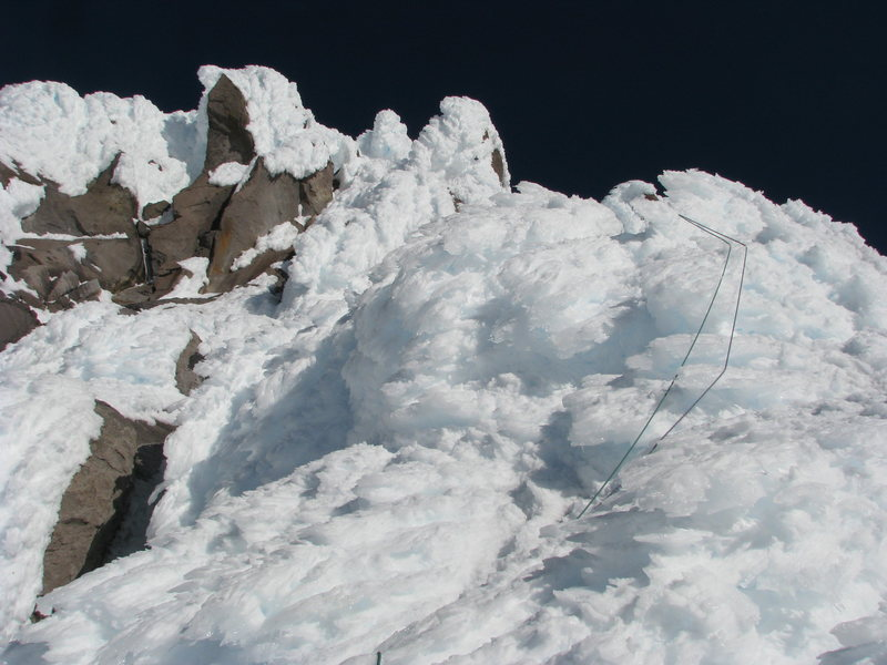 Rock Climbing Photo: Looking up near vertical rime ice. The rock horn i...