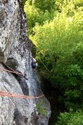 Rock Climbing Photo: Dennis cleaning up Shamans.