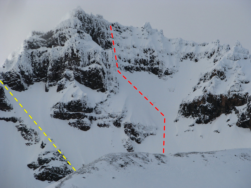 High Noon (red) and the Eleven O'clock Gully (yellow) on the south face of Broken Top