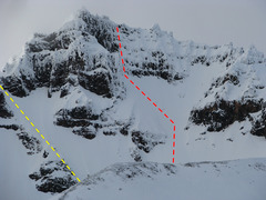 Rock Climbing Photo: High Noon (red) and the Eleven O'clock Gully (yell...