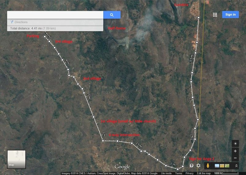 Driving directions from Cumbira village