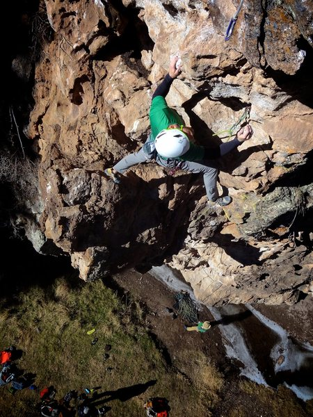 Longer than many of the routes in the area with a steep finish on great holds. November 2014.