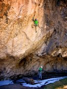 Rock Climbing Photo: The slightly overhanging, obtuse dihedral in the m...