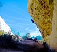 Rock Climbing Photo: Jeff Constine leading Black Listed 5.11b Devils Pu...