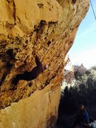 Rock Climbing Photo: Chad Parker attempting Black Listed on a Top Rope