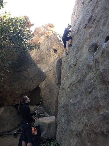 Jen Hansen on the far left route of Motzarts Wall 5.8