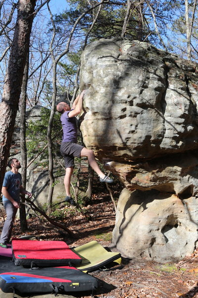 Jay Shultis climbing the classic 'Little Bad'