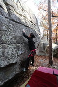 Rock Climbing Photo: Sonia Shultis mid-crux on Webb Option
