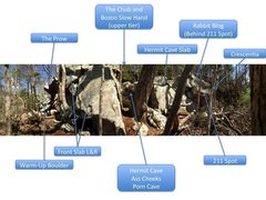 Rock Climbing Photo: Hermit Cave Area topo
