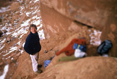 Rock Climbing Photo: Marvin Porter at the base c 1983