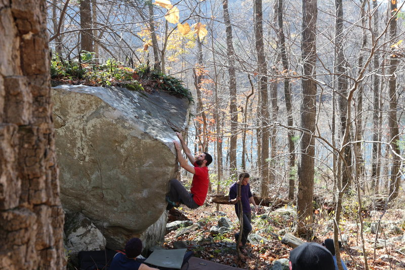 AAron scoping out the mantle for this great little arete