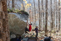 Rock Climbing Photo: AAron scoping out the mantle for this great little...