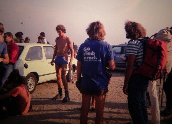 British climber, Ron Fawcett, at the 1984 Mt. Rubidoux Bouldering Contest.