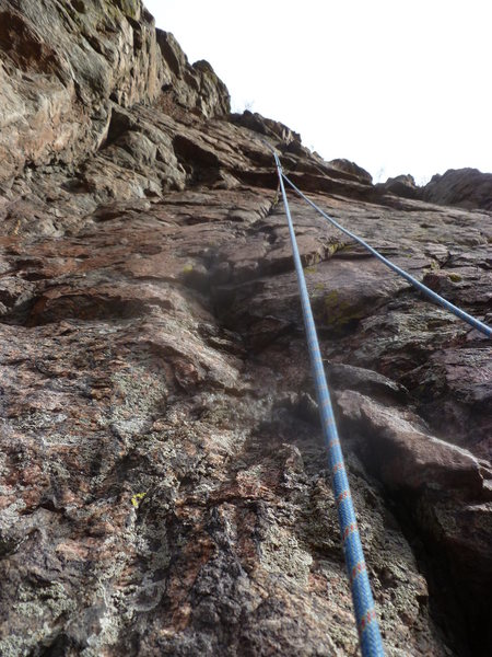 The route.  You can see the first piece of protection about 20' up.