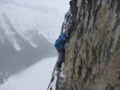 Rock Climbing Photo: Dave traversing past rotten rock on P2.