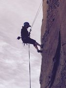 Rock Climbing Photo: Rappelling off the Attitude Wall on a fine winter ...
