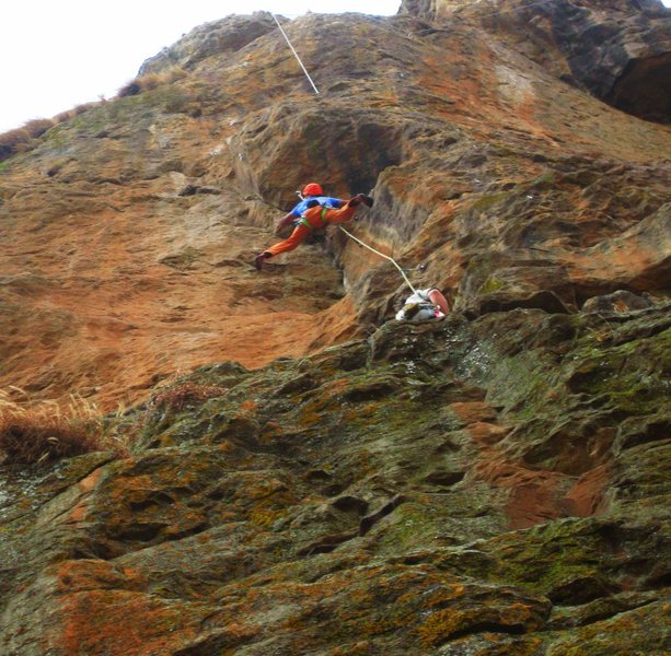 Climber stems Sheba's dihedral