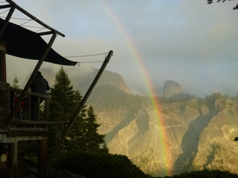 Rock Climbing Photo: Rainbow at sunset near the Great Western Divide - ...