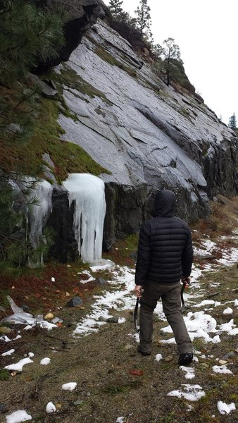 Rock Climbing Photo: The only ice we found