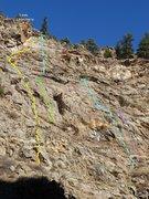 Rock Climbing Photo: Routes as of Dec. 2014:  Yellow Dog Dingo - yellow...