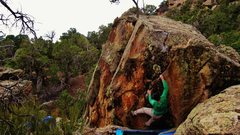 Rock Climbing Photo: Sticking the right hand edge on Ode to Highway 141...
