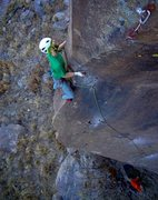 Rock Climbing Photo: Cool, multi-sided arête leads to a tricky mantle-...